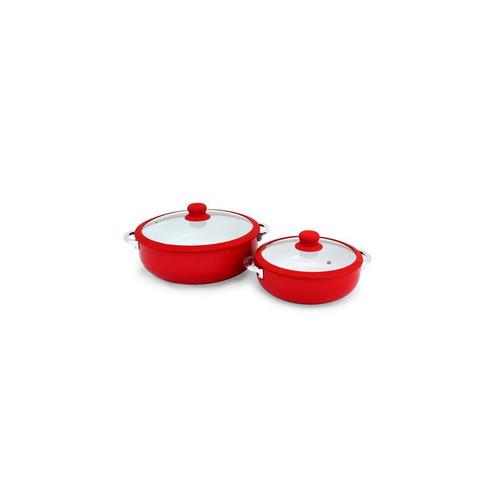Imusa 2-Pk Red Ceramic Casserole Set