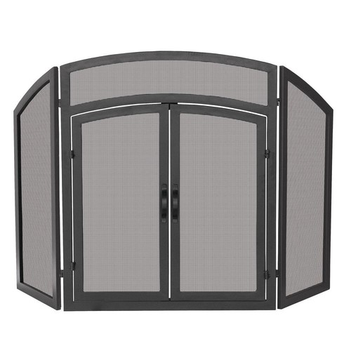 UniFlame Arch Top Black Wrought Iron 3-Panel Fireplace Screen with Doors