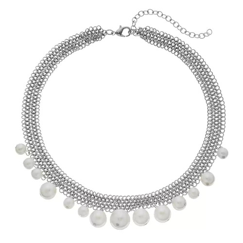 Simply Vera Vera Wang Simulated Pearl Chain Mesh Necklace