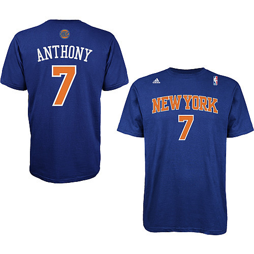 adidas Men's New York Knicks Carmelo Anthony Replica Name And Number Short-Sleeve T-Shirt