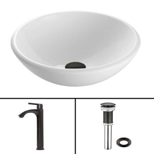 VIGO Glass Vessel Sink in White Phoenix Stone and Linus Faucet Set in Antique Rubbed Bronze