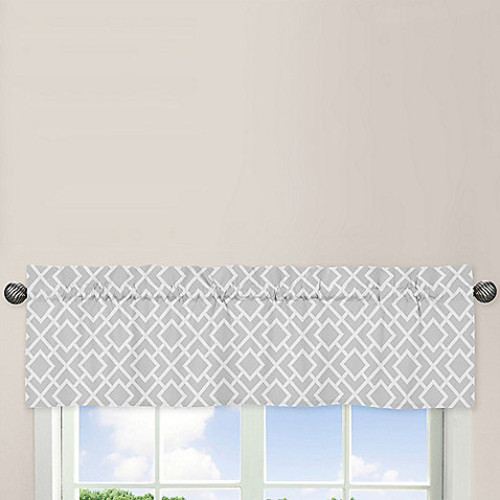Sweet Jojo Designs Diamond Window Valance in Grey/White