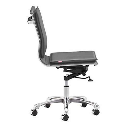 Zuo Lider Plus Armless Low-Back Office Chair, Gray/Chrome