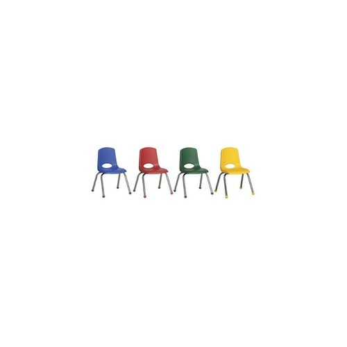 14 inch Plastic Stacking Chair Chrome Legs With Composite Ball Glides For Kids 6 Pack - Assorted