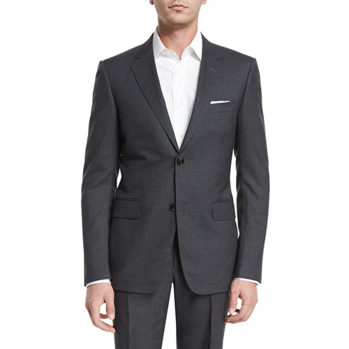 GUCCI Brera Two-Piece Wool Suit, Charcoal