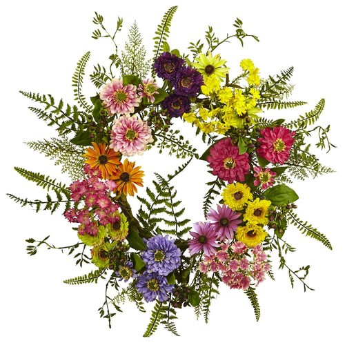 Nearly Natural Mixed Flower 22 in. Wreath