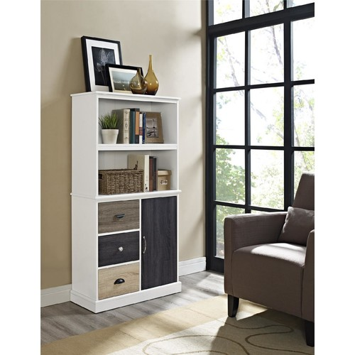 Dorel Mercer White Storage Bookcase with Multicolored Door & Drawers