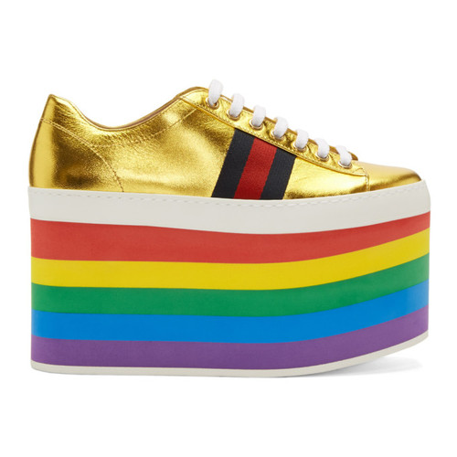 GUCCI Gold Peggy Platform Sneakers
