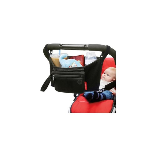 Skip Hop Grab and Go Attachable Neoprene Stroller Organizer and Cup Holder with Detachable Wristlet, Universal Fit, Black [Black]
