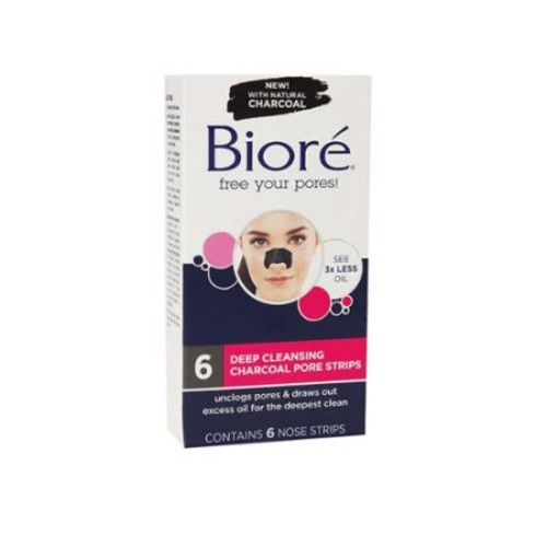 Biore Deep Cleansing Pore Strips, Charcoal 6 ea (Pack of 6)