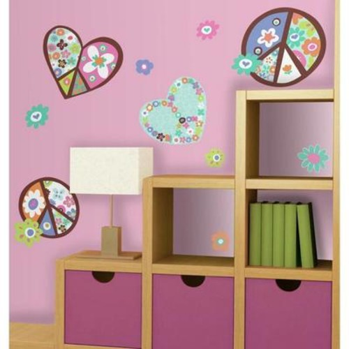 Peel & Stick Giant Wall Decals - Heart & Flower Peace Sign