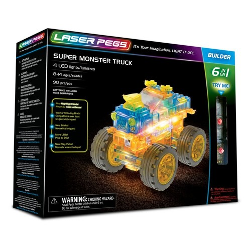 Laser Pegs Super Monster Truck 6-in-1 Building Set; The First Lighted Construction Toy to Ignite Your Child's Creativity; It's Your Imagination, Light It Up