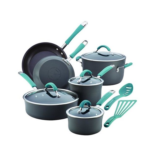 Rachael Ray Cucina Hard-Anodized Nonstick 12-Piece Cookware Set in Gray with Agave Blue Handles
