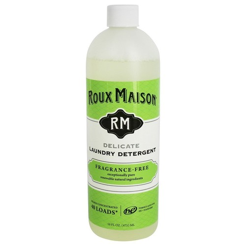 Roux Maison Essential Laundry Detergent - Odor Eliminator HE Detergent, All Natural Laundry Detergent, Up to 40 Machine Loads or 80+ Hand Washes - Fragrance Free 16oz. [Fragrance Free, Essential]