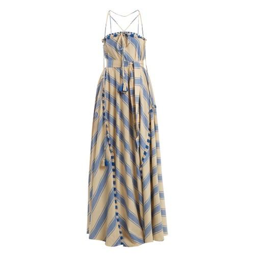 Pedro tassel-embellished striped cotton dress