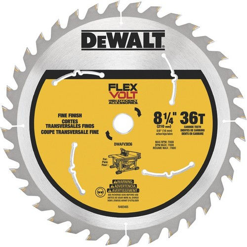 DEWALT FLEXVOLT Table Saw Blade  8 1/4in. Dia., 36 Tooth, Fine Finish, For Wood,