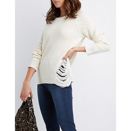 Distressed Shaker Stitch Sweater
