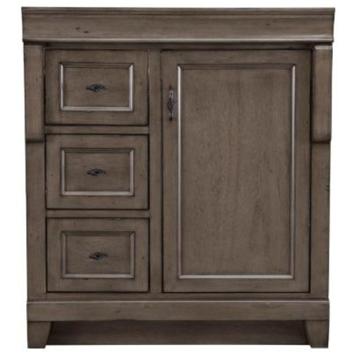 Home Decorators Collection Naples 30 in. W Bath Vanity Cabinet Only in Distressed Grey with Left Hand Drawers