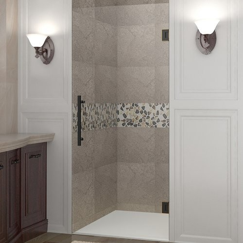 Aston Cascadia 31 in. x 72 in. Completely Frameless Hinged Shower Door in Oil Rubbed Bronze