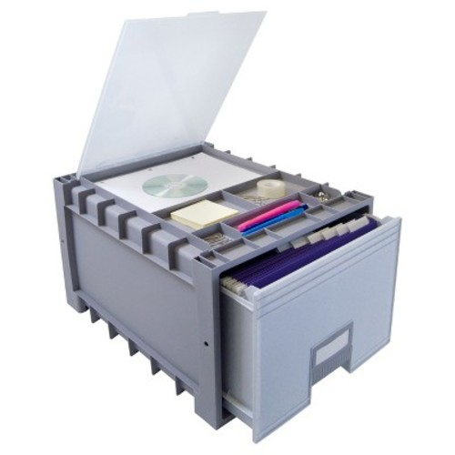 Storex Plastic Archive Storage Drawer with Lid Letter Size - Gray