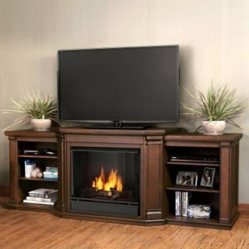 Real Flame Valmont 76 in. Media Console Ventless Gel Fuel Fireplace in Chestnut Oak