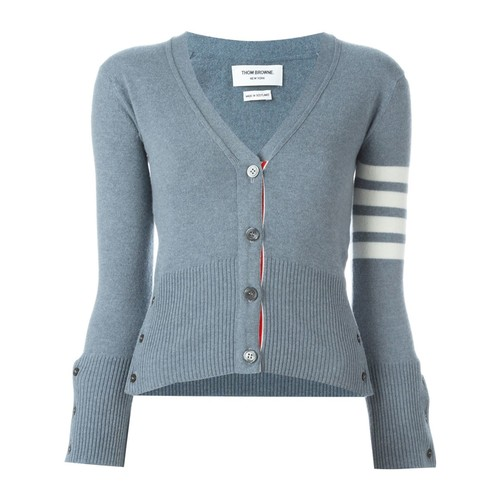 THOM BROWNE V-Neck Cardigan With 4-Bar Stripe In Blue Cashmere