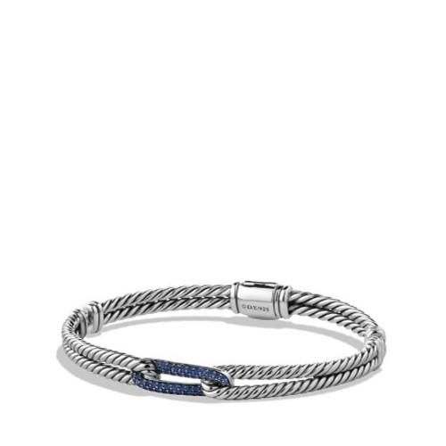 Petite Pav Labyrinth Mini Loop Bracelet with Blue Sapphires