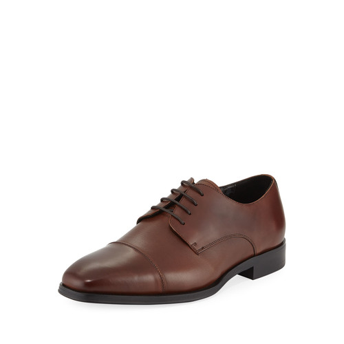 Karl Lagerfeld Lace-Up Leather Flat Loafer, Brown