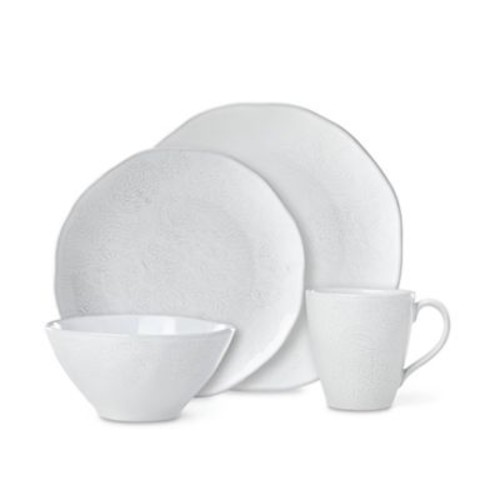 Lenox French Carved Flower 4-Piece Place Setting in White