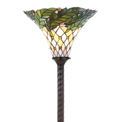 JONATHAN Y Botanical Tiffany-Style 71 in. Bronze Torchiere Floor Lamp
