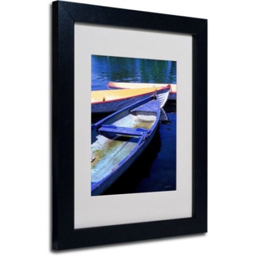 Bois de Boulogne Boats by Kathy Yates Matted Framed Art with Black Frame, 11 by 14-Inch [11 by 14-Inch]