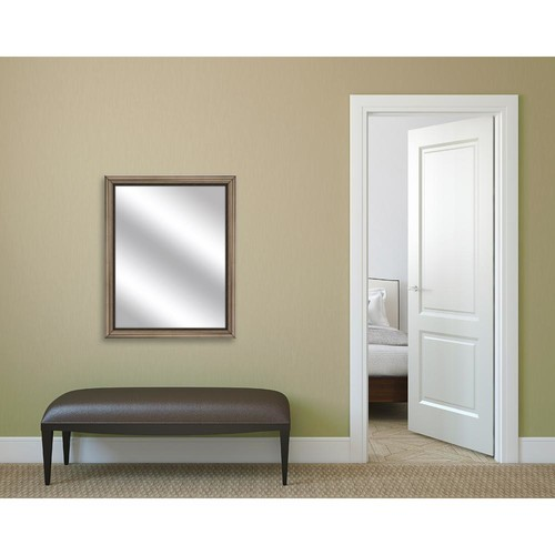 PTM Images 32.75 in. x 26.75 in. Brown Framed Mirror