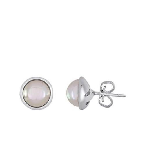 8MM Mabe White Pearl & Sterling Silver Bezel Stud Earrings