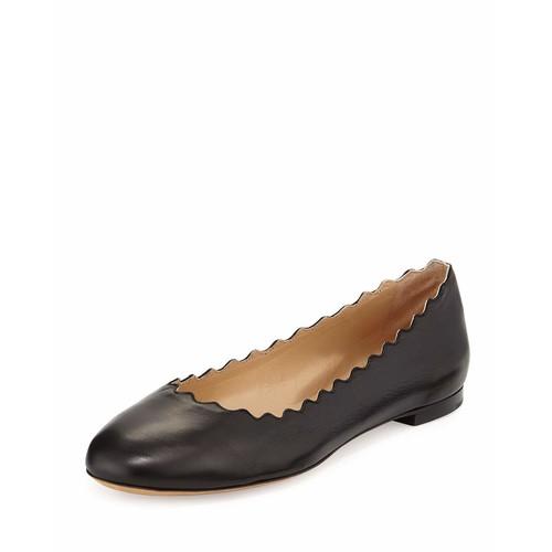 CHLOE Lauren Scalloped Leather Ballerina Flat, Black
