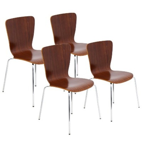 Lumisource Bentwood Stacker Dining Chair Walnut (Set of 4)