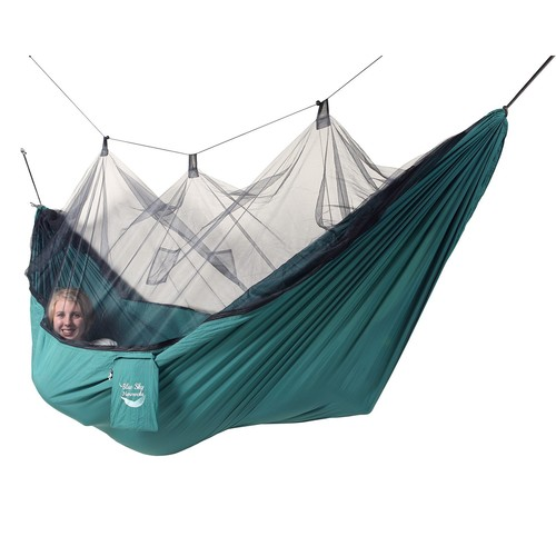 Blue Sky Outdoor Mosquito Net Single Hammock with Straps
