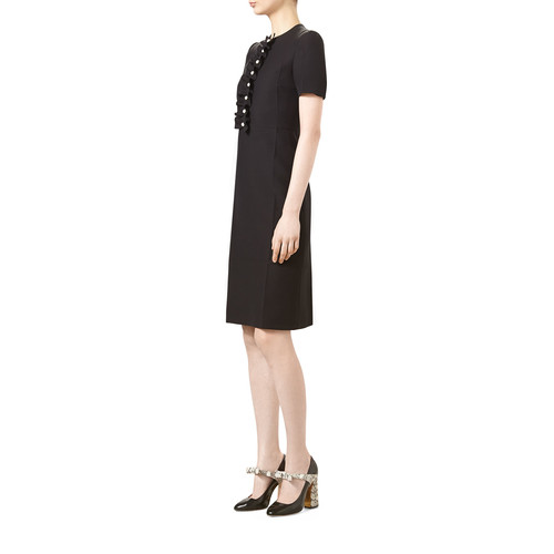 GUCCI Short-Sleeve Cady Crepe Wool Dress, Black