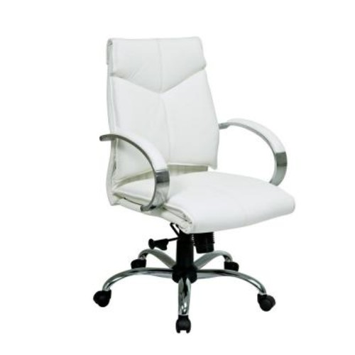 Pro-Line II White Leather Mid Back Executive Office Chair