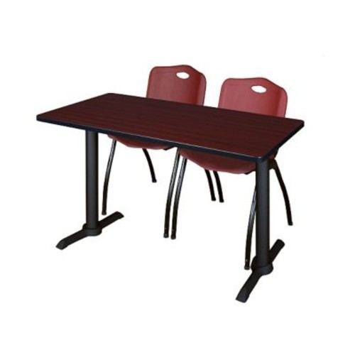 Regency Cain 48'' Rectangular Training Table and Chairs, Mahogany w/ Stack Chairs (MTRCT4824MH47BY)