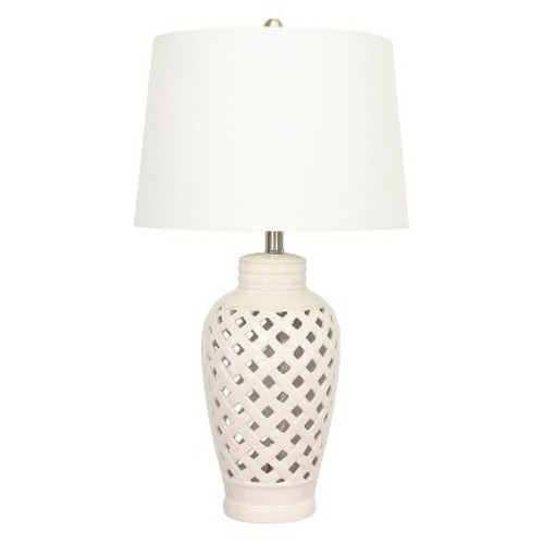 Fangio Lighting 26 in. White Ceramic Table Lamp with Lattice Design