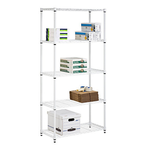 Honey-Can-Do SHF-01573 5-Tier Steel Urban Adjustable Storage Shelving Unit, White