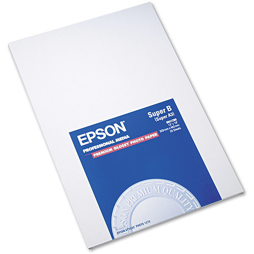 Epson Premium Photo Paper, 68 lbs., High-Gloss, 13 x 19, 20 Sheets/Pack