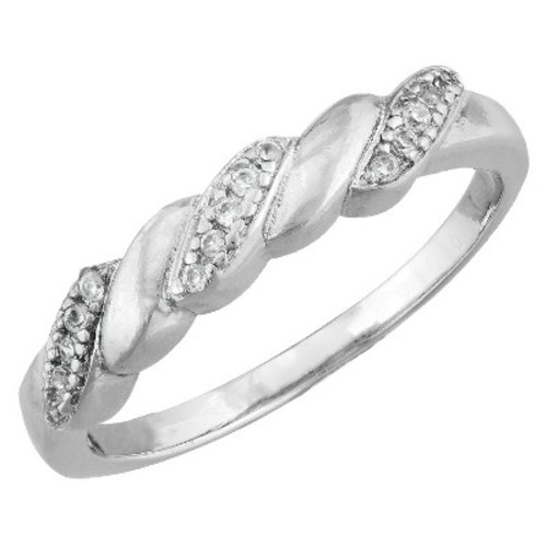 Silver Plated Cubic Zirconia Thin Twist Band Ring - Size 6