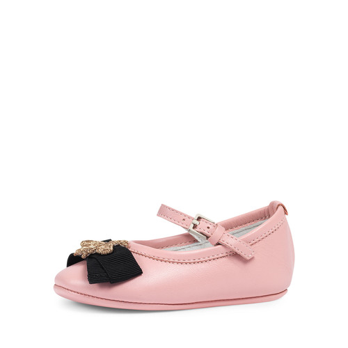 GUCCI Leather Ballet Flat W/ Bee, Pink, Infant
