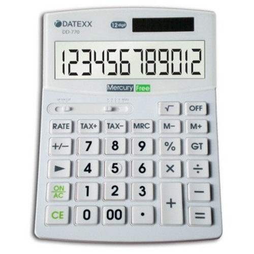 Datexx DD-770 Hybrid Power 12 Digit Desktop Calculator