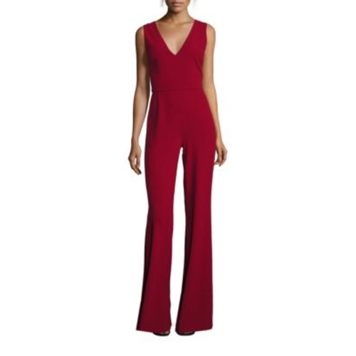ALICE + OLIVIA Lina V-Back Flared Jumpsuit