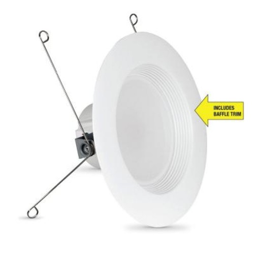 Feit Electric 75W Equivalent Soft White 5/6 in. White Baffle-Trim Recessed Retrofit Downlight LED 90 CRI Maintenance Pack (24-Pack)