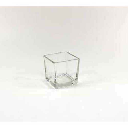3-inch Clear Small Glass Cube/Votive Candle Holder (12 Pack)