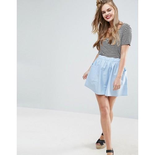 ASOS Mini Skater Skirt in Cotton Poplin with Pockets