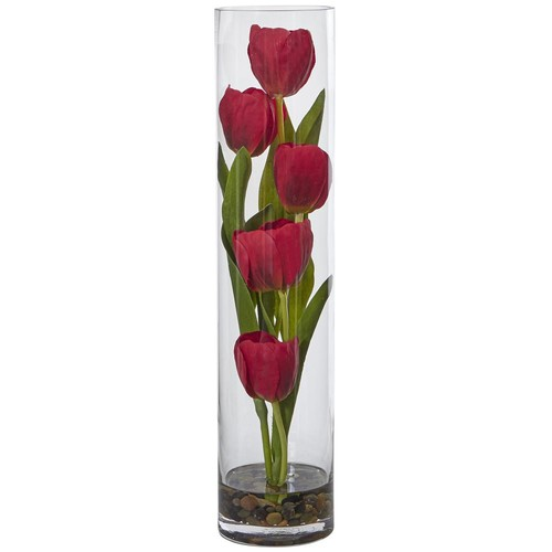 Nearly Natural 18 in. H Indoor Tulips Silk Arrangement in Cylinder Glass